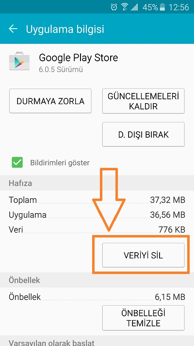 google-play-store-veriyi-sil