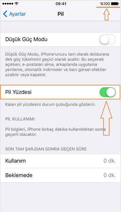 iphone-pil-yuzdesi-gosterme