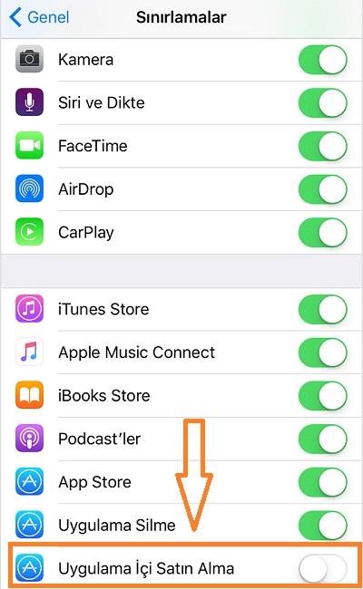 iphone-sinirlamalar-uygulama-ici-satin-alma-kapatma
