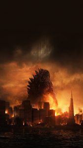 godzilla-destroying-city-movie-poster-android-wallpaper