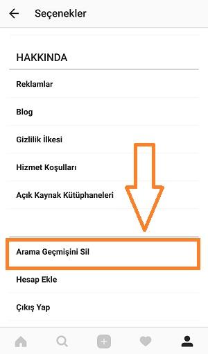 instagram-arama-gecmisini-sil