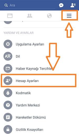 mobil facebook hesap dondurma 1