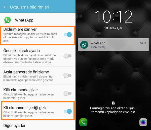 whatsapp bildirim gizleme