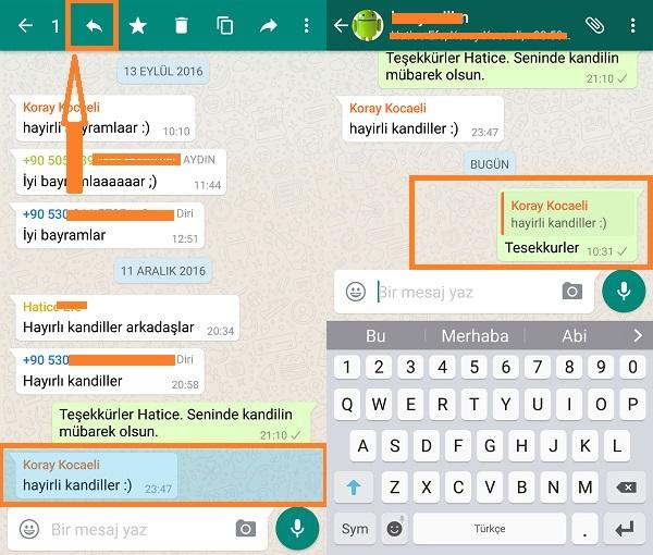 whatsapp grup mesaji yanitlama