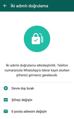 whatsapp iki adimli dogrulama devre disi birakma
