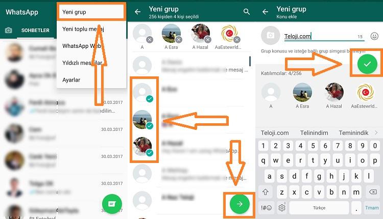whatsapp grup olusturma