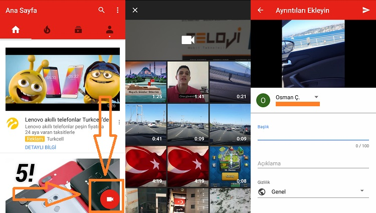 youtube video yukleme android