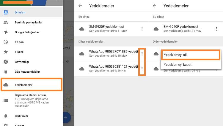 google drive whatsapp yedeklemeyi silme