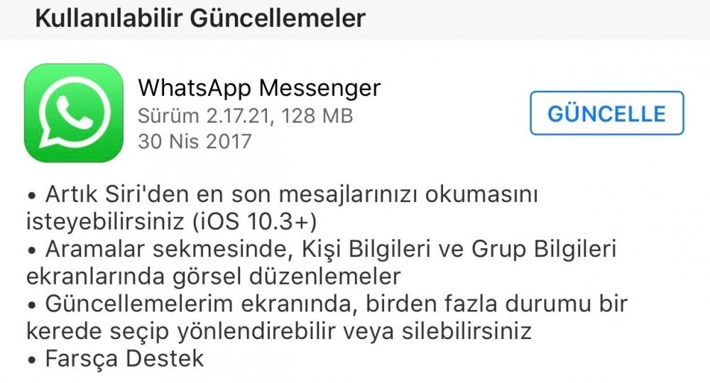 whatsap guncelleme