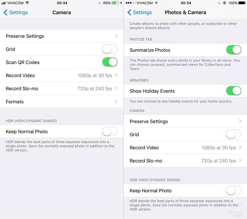 ios 11 vs ios10 camera settings