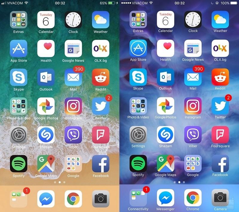 ios 11 vs ios10 homescreen