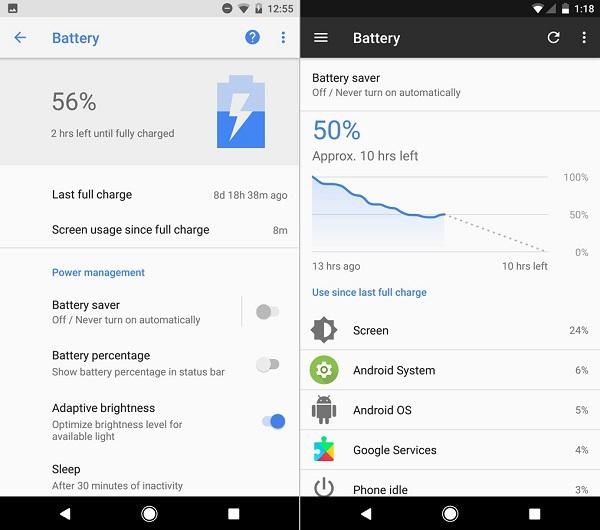 android o android nougat batarya