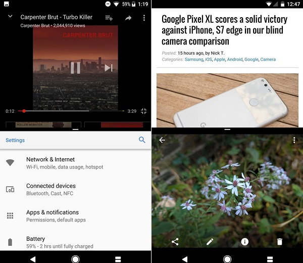 android o android nougat coklu pencere