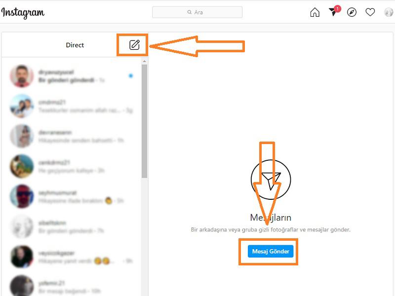 bilgisayardan instagram mesaj gonderme