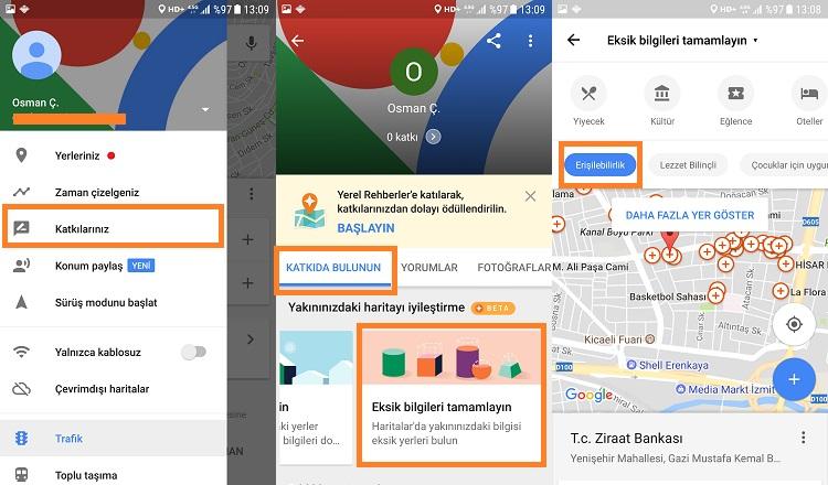 google haritalar tekerlekli sandalye yer ekleme