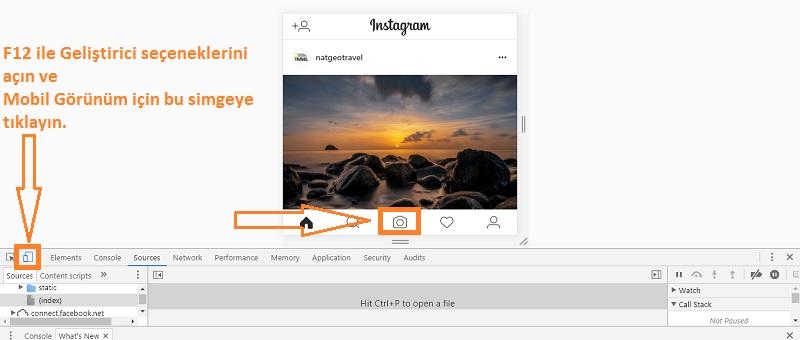 instagrama bilgisayardan fotograf yukleme