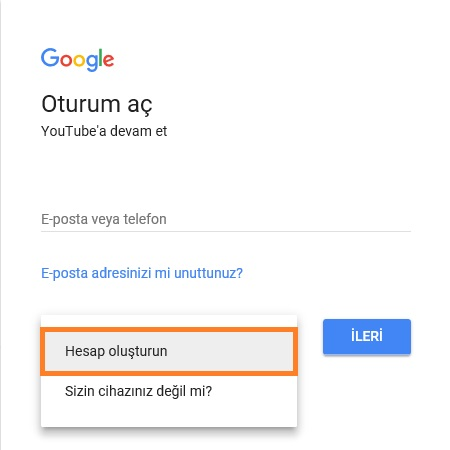 youtube hesap olusturun