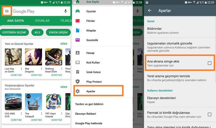 google play store ana ekrana simge eklemeyi kapatma