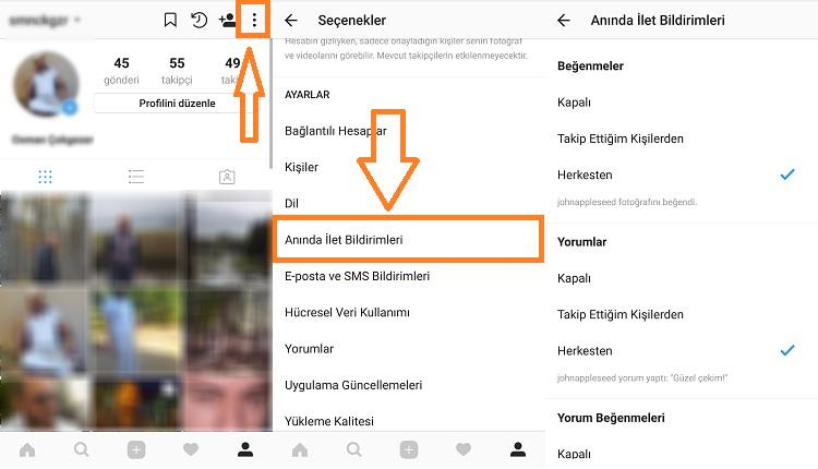 instagram aninda ilet bildirimleri ayarlama
