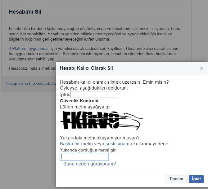 facebook hesabi kalici olarak sil
