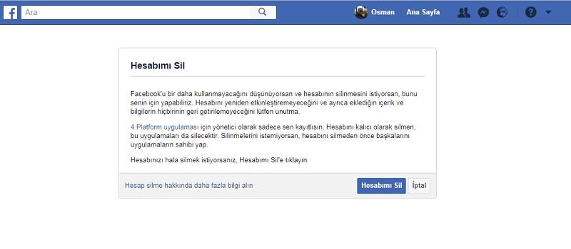 facebook hesap silme linki sayfasi