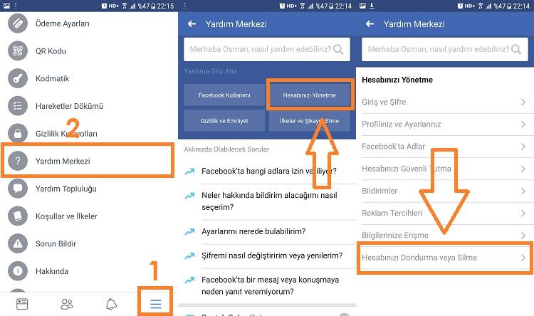 facebook hesap silme mobilden 1