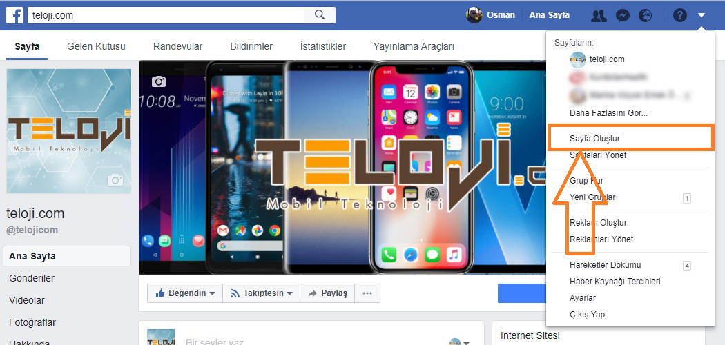 facebook sayfa olustur