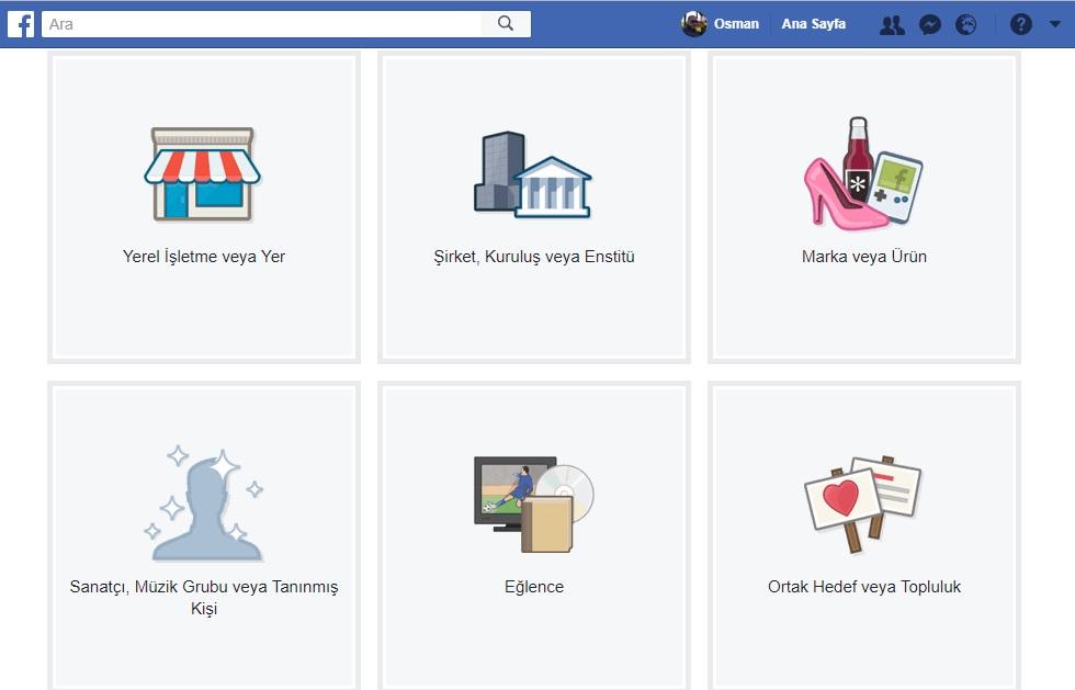 facebook sayfa turleri