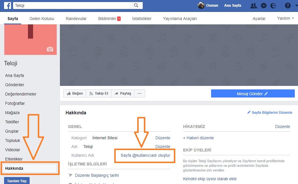 facebook sayfa url degistirme
