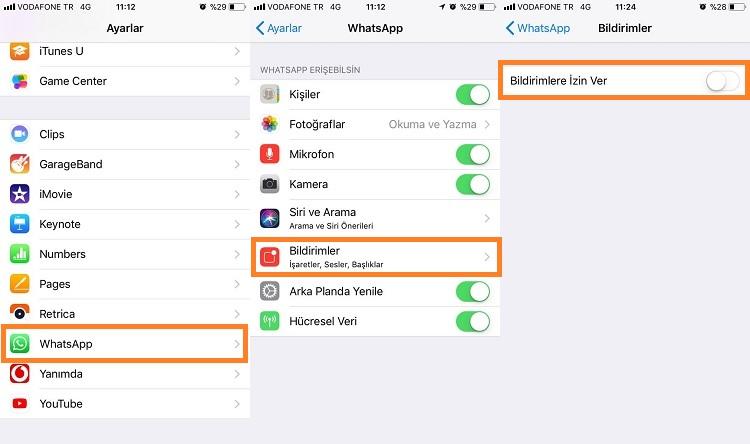 iphone whatsapp bildirimlerini kapatma