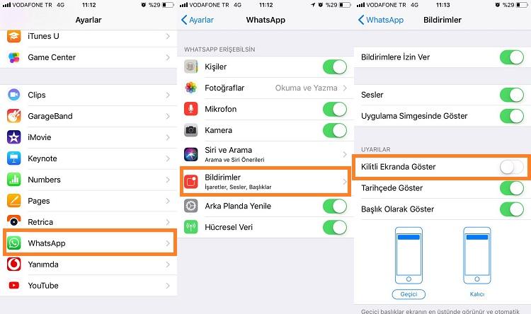 iphone whatsapp kilit ekraninda gizleme