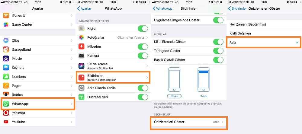 iphone 5 whatsapp mesaj önizleme