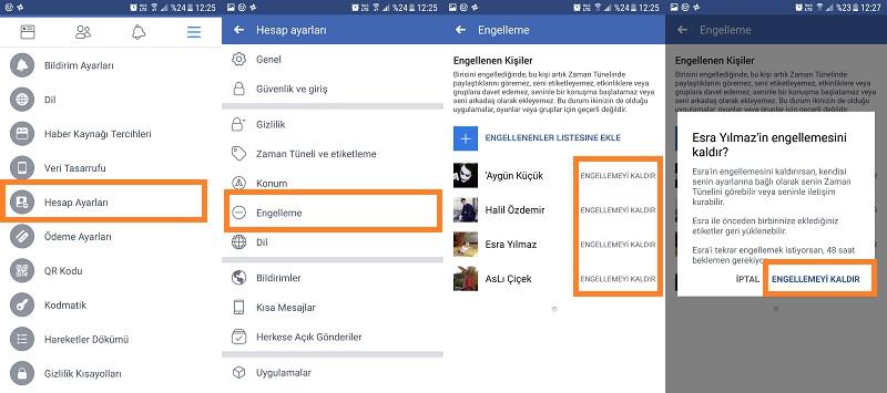 facebook engellenenler listesi engel kaldirma android