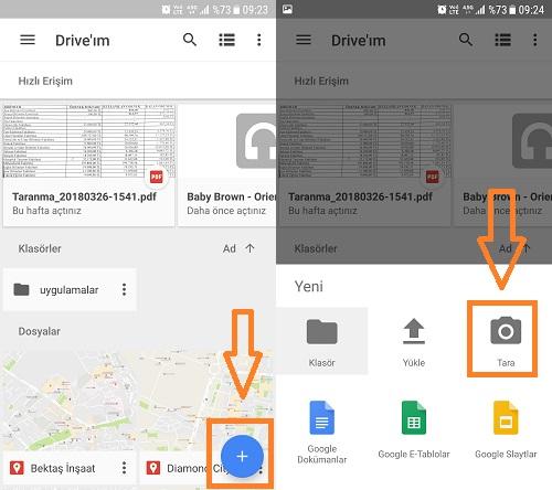 android belge tarama google drive