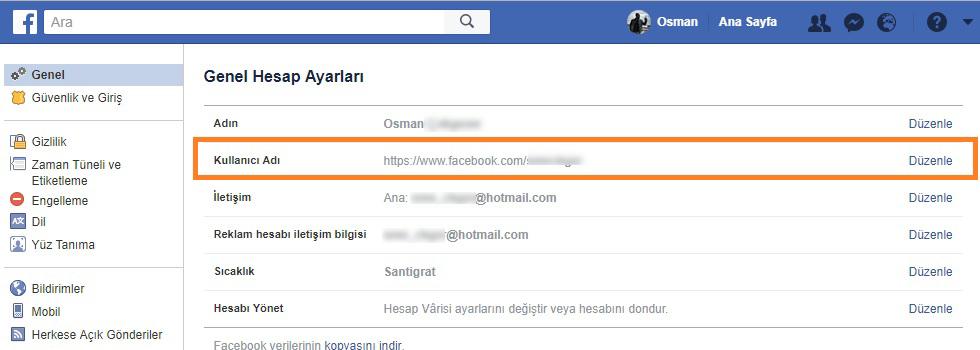 facebook kullanici adi degistirme