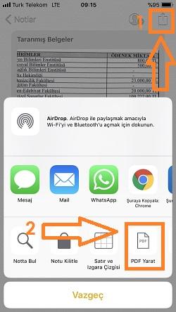 iphone notlar pdf yaratma