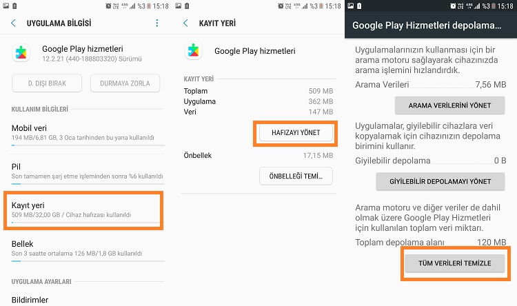 google play hizmetleri tum verileri temizle
