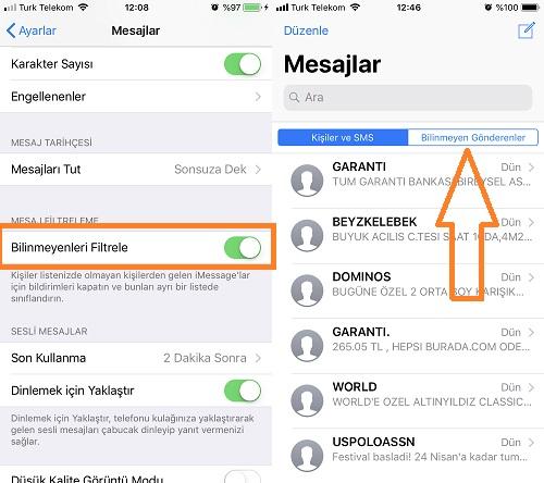 iphone bilinmeyen numaralardan gelen mesajlari engelleme