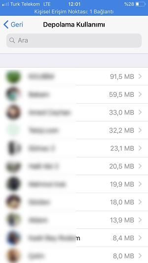 Whatsapp depolama alani kullanimi