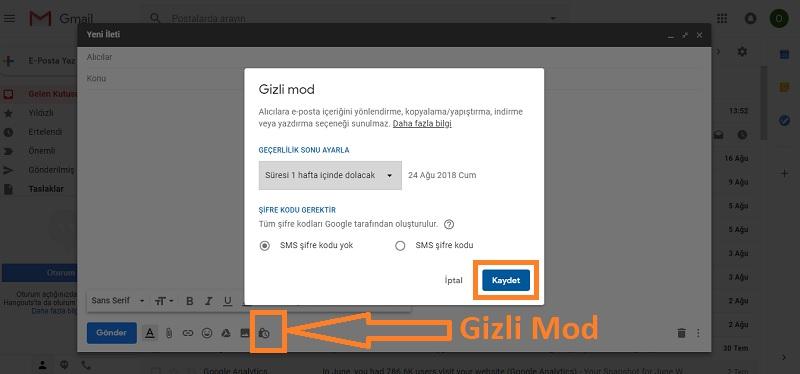 gmail gizli mod bilgisayar