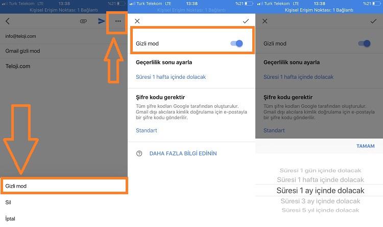 gmail gizli mod iphone