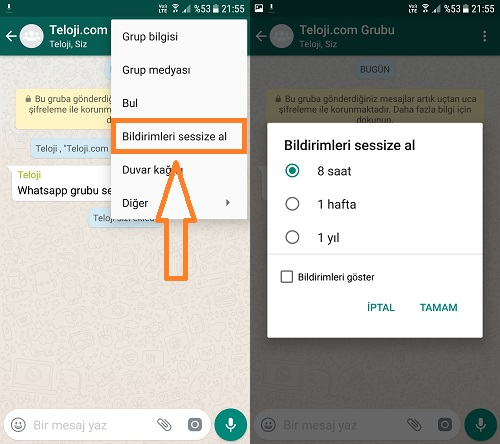whatsapp bildirimleri gizleme android