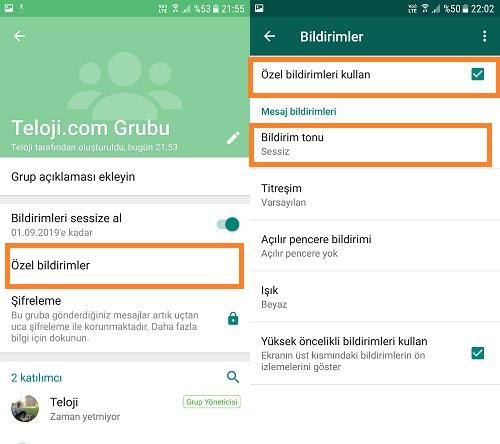 whatsapp grubu sessize alma android