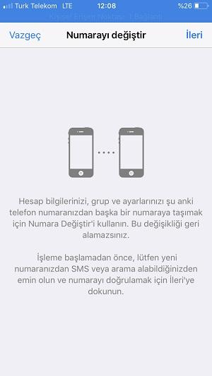 whatsapp numara degistirme