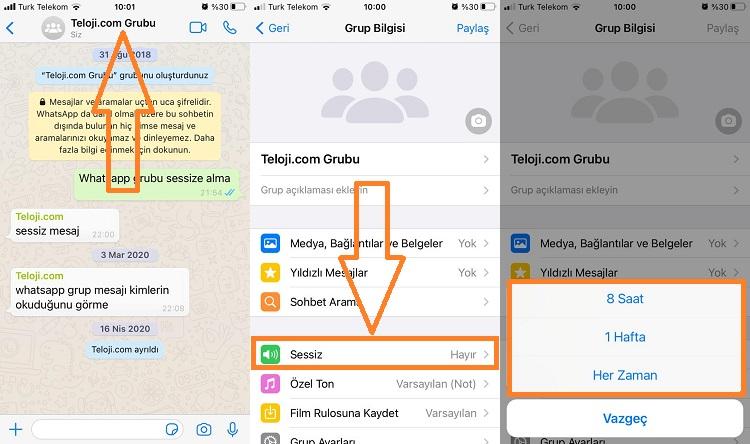 whatsapp grubu sessize alma iphone guncel