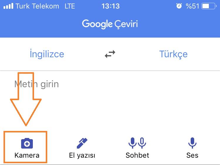 google translate kameradan ceviri