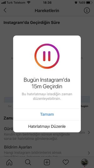instagram kullanim limiti hatirlatma