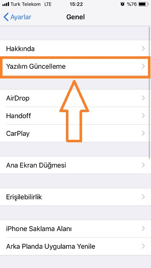 iphone yazilim guncelleme