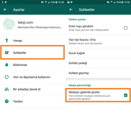 whatsapp android medyayi galeride goster