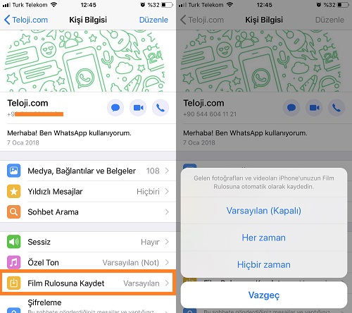 whatsapp iphone film rulosuna kaydet kisi